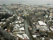 Rijeka Panorama. Panoramic View of Rijeka and Adriatic Sea,Croatia stock photography