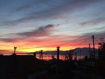 Rijeka solnedgång Arkivfoto