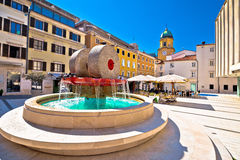 Rijeka square and fountain view. With clock tower gate, Kvarner, Croatia Stock Images