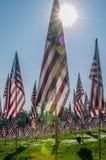 Rijen van Amerikaanse vlaggen Stock Foto's