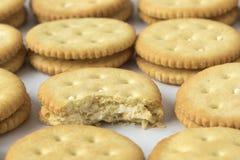 Rijen van crackers Stock Fotografie