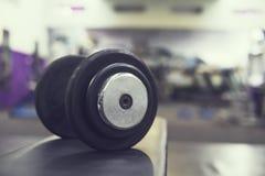 Rijen van domoren in de gymnastiek met higncontrast en kleurentoon rubberdomoor op een bank op de achtergrond van de gymnastiek v Royalty-vrije Stock Afbeelding