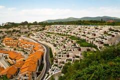 Rijen van flatgebouwen met koopflats en balkons Royalty-vrije Stock Foto