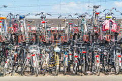 Rijen van geparkeerde fietsen, Nederland Stock Afbeeldingen