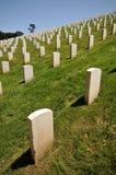 Rijen van grafstenen in een begraafplaats Stock Foto's