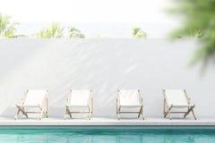 Rijen van ligstoelen dichtbij pool, toevlucht stock illustratie
