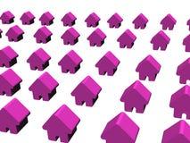 Rijen van purpere huizen Royalty-vrije Stock Afbeeldingen