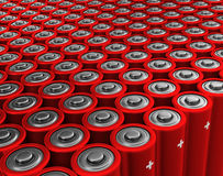 Rijen van rode batterijen Stock Fotografie