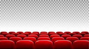 Rijen van rode bioskoop of theaterzetels stock illustratie