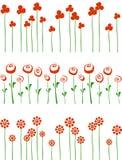 Rijen van rode bloemen. Royalty-vrije Stock Foto's