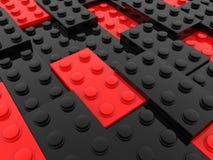 Rijen van stuk speelgoed bakstenen in zwart en rood royalty-vrije illustratie