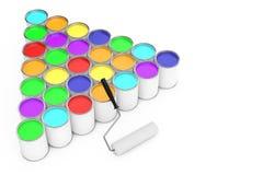 Rijen van Verfblikken met Rolborstel het 3d teruggeven Stock Afbeelding