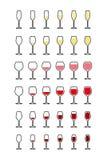 Rijen van wijnglazen van leeg aan hoogtepunt Stock Foto's
