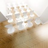 Rijen van witte stoelen Stock Afbeelding
