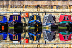 Rijen van woonboten Stock Foto