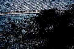 Rijgt de Grunge vuile Close-up van verouderde jeans Denimtextuur, macroachtergrond voor website of mobiele apparaten Royalty-vrije Stock Foto