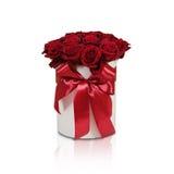 Rijk giftboeket van 21 rode rozen Samenstelling van bloemen in w Royalty-vrije Stock Fotografie