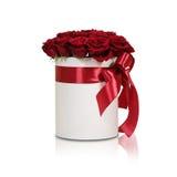 Rijk giftboeket van 21 rode rozen Samenstelling van bloemen in w Royalty-vrije Stock Afbeelding
