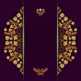 Rijke achtergrond met gouden bloemen en bessenpatroon en verdeler Malplaatje voor menu, groetkaart, uitnodiging of dekking stock illustratie