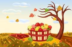 Rijke appeloogst in de herfst stock illustratie