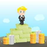 Rijke de zakenman van de beeldverhaalillustratie Stock Foto's