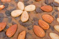 Rijke fruitcake: oppervlakte textuur. Royalty-vrije Stock Foto