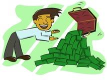 Rijke zakenman die geld van kofferbeeldverhaal tonen Royalty-vrije Stock Afbeelding