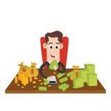 Rijke zakenman tellende rijkdom royalty-vrije illustratie