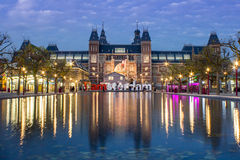 The Rijksmuseum in Amsterdam. In the early evening