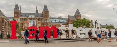 Rijksmuseum Amsterdam museum with words I Amsterdam Royalty Free Stock Photos