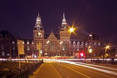 Rijksmuseum in Amsterdam the Netherlands. At night Stock Image