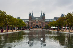 Rijksmuseum main facade and pond Royalty Free Stock Image
