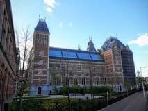 Rijksmuseumen är ett holländskt nationellt museum som är hängivet till konster och historia i Amsterdam Arkivfoto
