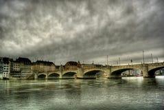 Rijn in Bazel HDR stock foto