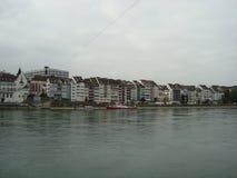 Rijn-landschap in Bazel Stock Foto