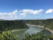 Rijn-rivier, St Goar, Duitsland Stock Foto