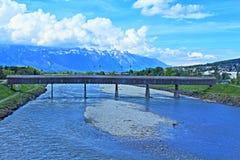 Rijn-rivier Vaduz Stock Fotografie