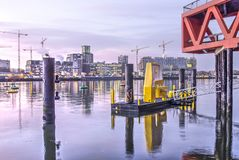 Rijnhaven harbour at sunrise stock photos