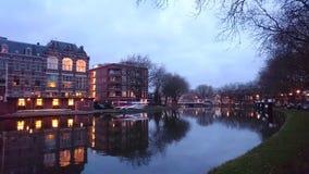 Rijnschiekanaal pelo crepúsculo Fotos de Stock Royalty Free