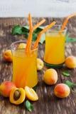 Rijp abrikozen en abrikozensap Royalty-vrije Stock Foto's