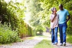 Rijp Afrikaans Amerikaans Paar die in Platteland lopen royalty-vrije stock foto's