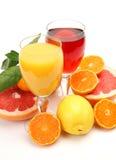 Rijp fruit en sap Royalty-vrije Stock Afbeeldingen