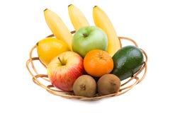 Rijp fruit in rijs stock afbeeldingen
