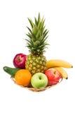 Rijp fruit in vaas Stock Afbeeldingen