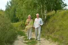 Rijp paar in de zomerpark Stock Foto