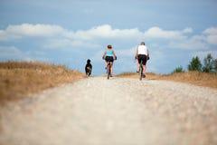 Rijp paar op fiets Stock Foto