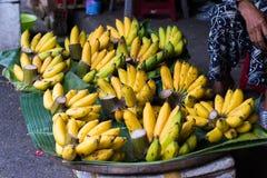 Rijp van verse bananen op Vietnamese markt Stock Foto