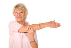 Rijp zich het oudere dame uitrekken royalty-vrije stock foto