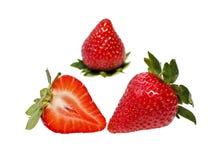 Rijpe aardbeien op een witte achtergrond Stock Afbeelding