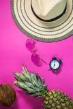 Rijpe ananas, kokosnoot, glazen en hoed op roze achtergrond Het concept van de vakantie royalty-vrije stock afbeelding